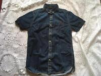 Superdry men's soft jeans shirt short sleeves blue jeans size Small used v.good condition £10