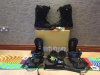 Snowboard, boots, bindings, goggles, safety leash