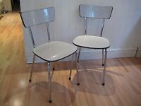 Pair of Stylish Retro Original 1950s / 1960s Kitchen / Dining Chairs - Amazing Original Condition