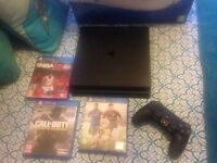 ony ps4 slimline 500gb black,wireless controller,comes boxed with 3 games cod infinite ware fare/