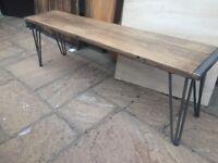Rustic Handmade Bench - Solid Beech Wood - Very Heavy - Hairpin Legs