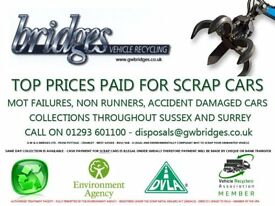 SCRAP CARS AND VANS WANTED ACCIDENT DAMAGE MOT FAILURE END