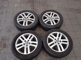 """Genuine vw 16"""" alloys and tyres £200"""