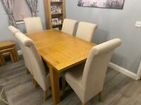 Oak Extending Dining Table with 6 Fabric Chairs