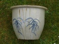 Pale Blue Glazed Ceramic Garden Planter with Bamboo Detail Plant Pot 23cm Tall