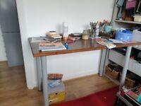 Ikea desk table dark varnished wood - ideal for teenager study or craft room