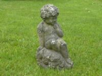 Cute Cast Stone Resting Cherub Garden Ornament Garden Statue 37cm Tall