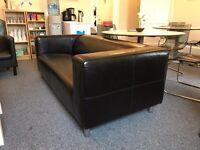Black Leather 3 Seater Sofa IKEA