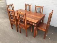 Solid sheesham table and 6 chairs (delivery available)
