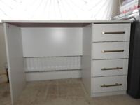 Home office desk, school desk, 4 dowers, white with free stool