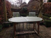 Garden extending teak table & 2 chairs