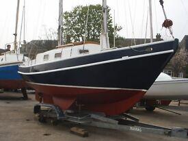 YACHT STEEL HULL SPRAY SCHOONER Bruce Roberts Design Length 6.4m VOLVO MD2020 with trailer £8250