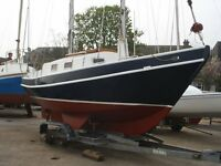 YACHT STEEL HULL SPRAY SCHOONER Bruce Roberts Design Length 6.4m VOLVO MD2020 with trailer £8250