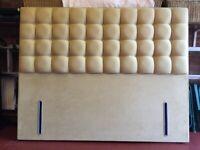 Crushed velvet buttoned floor standing headboard in light gold