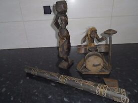 3 hand carved wooden items