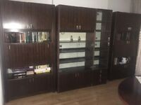 Lovely Rosewood Veneer Wall Units/Cabinets 350 cms / 11' 6 wide. Moving house so selling.