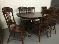 ** DARK WOOD LOVELY STYLE DINING TABLE WITH 6 CHAIRS **