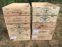Ten wooden wine boxes end printed