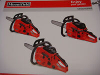 MOUNTFIELD PETROL CHAINSAW MODEL MC438 37CC ENGINE 3/8 CHAIN H/D BAR ELECTRONIC IGNITION