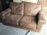 BROWN SUEDE 2 SEATER SOFA,CAN DELIVER
