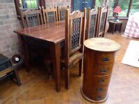 Jali dining table and six chairs. Free 5 drawer drum shape storage chest.