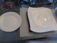 white squarish dinner plates & tea plates
