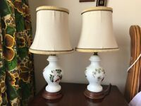 Ceramic bedside lamps with shades