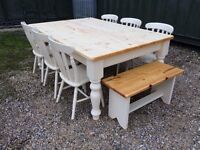 Stunning Plank Top Table, Chairs and Benches