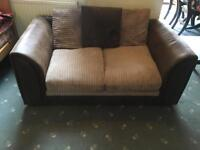 Brown and beige 2 seater sofa+can deliver
