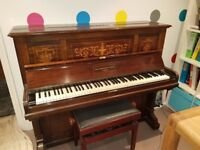 Beautiful Antique Broadwood Piano in good condition with rising butt stool
