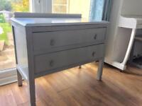 Lovely vintage solid wood 1920s chest of drawers freshly painted grey with original detailing
