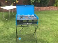 Camping gaz cooker - 2 burners and grill with stand
