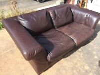 Italian REAL leather chocolate 2&3 seater sofas - super soft