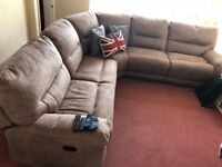 Large mocha suede recliner corner sofa in immaculate condition