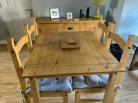 Corona pine dining table and chairs