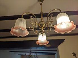 Brass Chandaliers 3 fluted glass lights(ceiling & wall)
