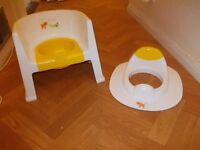 Baby potty training chair and matching toilet training seat