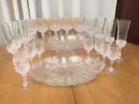 crystal wine glasses and serving dishes