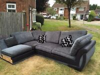 FREE - Large Black/Grey L-shaped Sofa with cushions to match