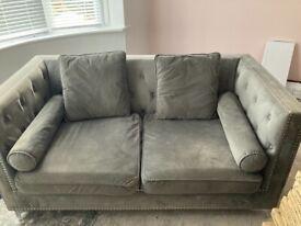 Grey velvet couch