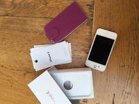 APPLE IPHONE 4 8GB WHITE WITH FLIP CASE ORIGINAL BOX