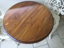 Ornate vintage Cast iron circular table with lovely oak top