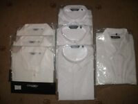 SIX LADIES OFFICE WORK BLOUSES AND TWO PAIRS OF TROUSERS ALL BRAND NEW + 1 GENTS SHIRT