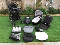 Silver Cross Wayfarer Special Edition Eton Grey Black + Carrycot + Seat + Car Seat + ISO Fix + Bag