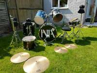 Drum kit with extra symbol stands