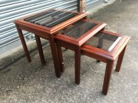 Retro Nest Of Glass Tables. Bevelled Glass