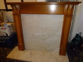 Oak and Marble Fire Surround - use with any electric fire