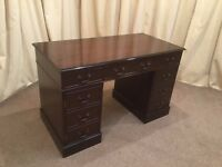 Georgian Style Mahogany Pedestal Desk - Home Office Writing Desk / Dressing Table