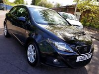 2011 BLACK SEAT IBIZA SPORT COUPE 1.2L PETROL SERVICE HISTORY 1 YEAR MOT 3 MONTHS WARRANTY