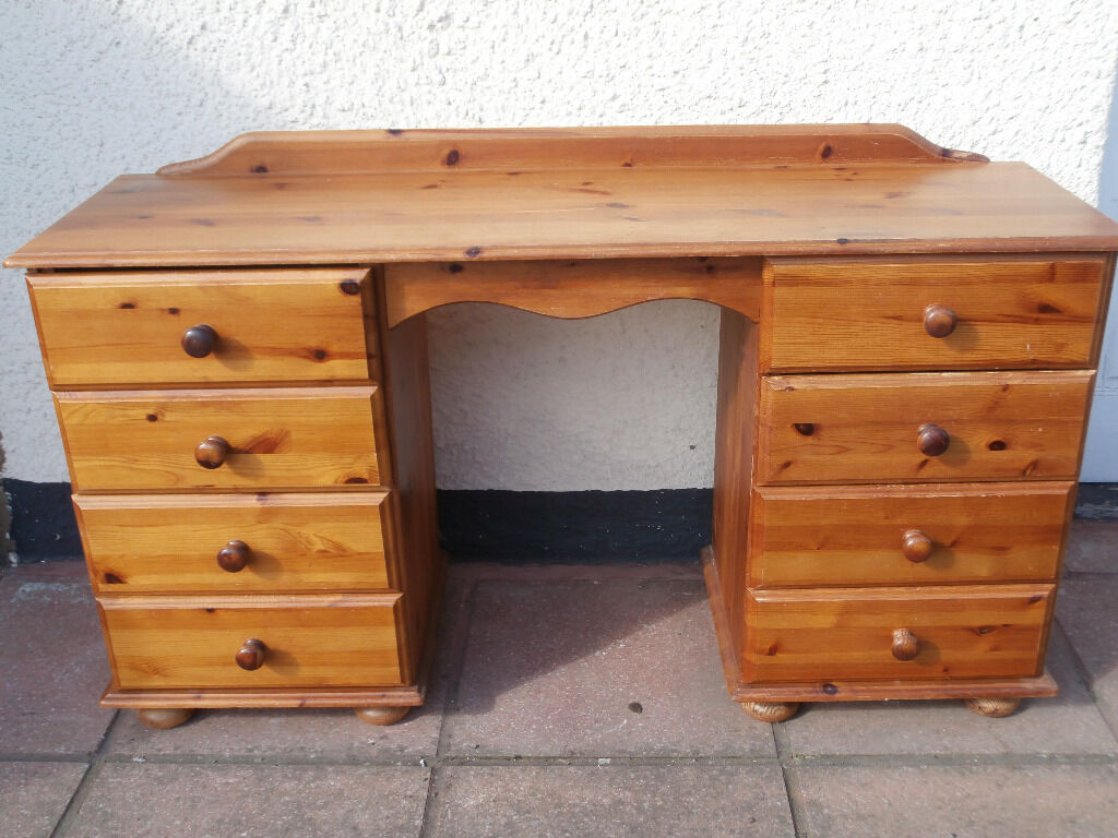 Pine desk dressing table with 8 drawers delivery in for Dressing table 85cm